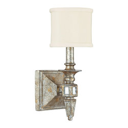 """Lamps Plus - Palazzo 5 1/4"""" Wide Silver and Gold Leaf Wall Sconce - This glamorous silver and gold leaf wall sconce has a small soft fabric drum shade. This stunning old Italian style silver and gold leaf wall sconce features a distressed finish and a small, soft off-white fabric drum shade. The decorative arm is inset with antiqued mirror details. From the Palazzo collection, which graciously mixes old with new; antique with modern."""
