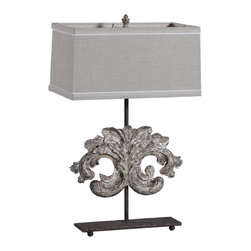 """Gabby - Gabby Lighting Janie Table Lamp - Creating decor with a story, Gabby's line of antique reproduction furniture retains the spirit of the European pieces that inspire it. Architectural fragment influence the design of the Janie lamp, at once handsome and romantic. A rusty black iron base and pole support the pewtered mountain ornament floating in the center of this unique lamp. Its linen-covered rectangular shade offers an elegant finishing touch. Due to the handmade artistry of Gabby's collection of home furnishings, variation between individual products should be expected and appreciated. Lamp measures 14.5""""W x 4.9""""D x 30.5""""L. Shade measures 18""""W x 11""""D x 9.5""""L. Accepts 60 watt max bulb (not included)."""