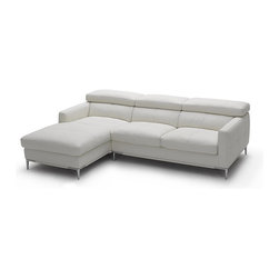 """JNM Furniture - 1281b Modern White Italian Leather Sectional Sofa, Left Facing Chaise - The 1281 Italian Leather sectional sofa set is fashionable and stylish. Available in  black & white top grain Italian leather. The seats and back cushions are made of high density foam to give you extra comfort and support. Modern, and comfortable. Full leather all around, and double stitched for quality. This configuration is only 92"""" in length and great for any apartment, or studio."""