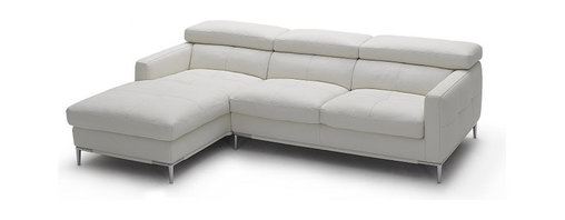 "JNM Furniture - 1281b Modern White Italian Leather Sectional Sofa, Left Facing Chaise - The 1281 Italian Leather sectional sofa set is fashionable and stylish. Available in  black & white top grain Italian leather. The seats and back cushions are made of high density foam to give you extra comfort and support. Modern, and comfortable. Full leather all around, and double stitched for quality. This configuration is only 92"" in length and great for any apartment, or studio."