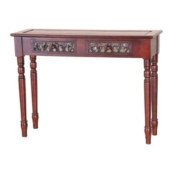 International Caravan - 2 Drawer Rectangular Carved Wood Table - Dual stain finish. Hand carved beautiful Victorian style finish. Minimal assembly required. 42 in. W x 14 in. D x 31 in. H