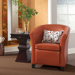 "Grandin Road - Cordoba Leather Club Chair Armchair - Durable leather is richly dyed and expertly sewn over a sturdy hardwood frame. New textured leather style available. Club chair features classic design that looks beautiful with any decor. Plush cushioning makes for ultra-comfortable seating. ""The colorful leathers of Cordoba add sophistication without getting too serious. And the tidy proportions are up to any design challenge. The only thing better? The price."" — GRANDIN ROAD EDITORS Our Cordoba Club Chair offers the comfort of a classic club chair without the oversized footprint and four-figure price tag. This design combines all of the must-have attributes of a large-scale chair and sized them to fit a smaller space - and budget - perfectly.. . . . Imported."