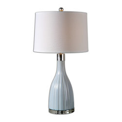 Uttermost - Monona Light Blue Table Lamp - Light your favorite setting with this blue bottle beauty, designed by David Frisch. Sleek bands and a crackled finish in pale periwinkle lend a refreshing vibe to your decor.