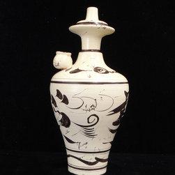 "Chinese Ceramic Pottery Fish Pattern Vase Display - Dimensions: Dia 5.5"" x h10.5"""