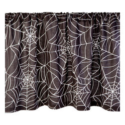 Sin in Linen - Spider Web Valance - 35 x 19 Inches - Food is the way to a persons heard and these webs will keep them there. Ensnare your guests with spider web kitchen linens.