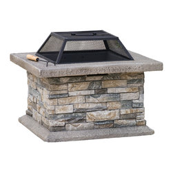 Great Deal Furniture - Kentwood Outdoor Fire Pit - Enjoy the outdoors with the Kentwood fire pit. Constructed with fiber glass reinforced cement, this fire pit is elegantly designed with natural stone and a decorative frame finish. The iron shield offers ample protection to enjoy chats fireside with your guests and is removable for those beloved smore nights. Adding this piece will bring warmth and elegance to your backyard or patio area, for those summer and winter nights.