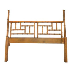 Hollywood Regency Faux Bamboo Queen Headboard - Dimensions 60.0ʺW × 2.25ʺD × 53.0ʺH