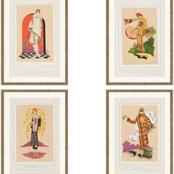 Paragon Decor - Tres Parisien Set of 4 Artwork - Paris fashionistas are matted in white with distressed gold finish molding.