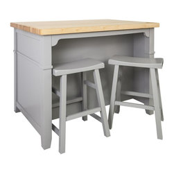 """Hardware Resources - Jeffrey Alexander Conversation Kitchen Island in Grey (ISL13-GRY-ST) - This 45"""" x 30"""" x 34 1/4"""" furniture style island is manufactured using the highest quality furniture grade hardwoods and MDF. This slab front island features two working drawers removable center wine rack and adjustable open shelves on one side and seating space on the other. The deep drawers are dovetailed solid hardwood and are mounted on full extension undermount soft close slides. Two matching saddle stools included 17 1/2"""" x 11 3/4"""" x 23 3/4"""". 1 3/4"""" hard maple edge grain butcher block top sold separately ISL13 TOP 48"""" x 32"""". The included decorative hardware can be found in the Jeffrey Alexander Merrick Collection (549 128). Grey finish is applied by hand."""