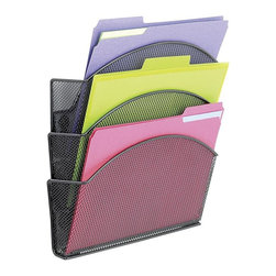 Safco - Onyx Magnetic Mesh Triple File Basket in Black - Set of 6 - Set of 6. Perfect way to organize files. Four heavy-duty magnets to attach to metal cube surfaces or on most fabric covered metal panel walls. Includes steel point fasteners. Made from steel mesh. Powder coat finish. GREENGUARD Certified. Holds up to 1.5 lbs. per tray. Compartment Size: 12.5 in. W x 4 in. D x 7.25 in. H. Fits Folder Size(s): Letter. Material Thickness: Mesh plate is 0.7 to 0.75mm thick. Material Thickness: rolled edge is 4.5 to 5.0 mm diameter. Overall: 13 in. W x 4.25 in. D x 13.5 in. H (3.2 lbs.). Assembly InstructionBe Meshy no more! With Onyx your workspace has never been more organized! The Mesh Triple File Pocket is great for organizing your file folders, papers and literature. Be drawn to Onyx with heavy-duty magnets for mounting. Use in your office or on cube walls. Great for any place with metal! Use on file cabinets around your workspace including in your supply room, print station, reception desk or mail room. Wherever the needle points you're sure to be Onyx organized.