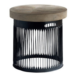 Kathy Kuo Home - Knoll Large Industrial Loft Chunky Wood Round Side End Table - This generously-sized, gorgeous natural wood tabletop crowns a ring of slatted metal, finished in lustrous black. The effect is a fantastic accent piece for any industrial loft or modern living room. Sleek and elegant, this modern artwork is the perfect pairing for sofas or armchairs in any space.
