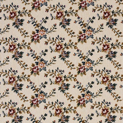 Red Green And Beige Floral Vine Tapestry Upholstery Fabric By The Yard - This traditional tapestry upholstery fabric has antique written all over it. This fabric is incredibly durable, and will last for years!