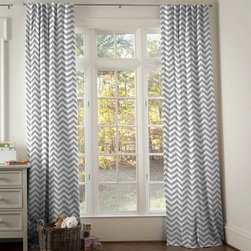 White and Gray Zig Zag Hidden Tab Drapes - Window drape panel in White and Gray Zig Zag. 100% Cotton.  Made in USA by Carousel Designs.