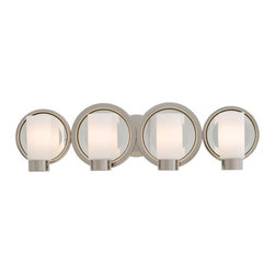 Kovacs - Kovacs P5864 4 Light Bathroom Fixture from the Next Port Collection - George Kovacs P5864 Four Light Bath Vanity with Cylindrical Etched Glass Shade from the Next Port CollectionThe Next Port 4 Light Bath Vanity is reminiscent of candles, but with a decidedly modern twist.Features: