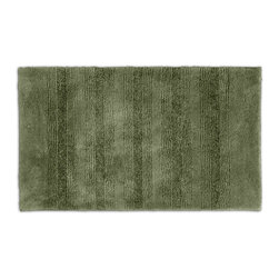 None - Westport Stripe Beach Grass Washable 24 x 40 Bath Rug - Classic and comfortable,the Westport Stripe bath collection adds instant luxury to the bathroom,shower room or spa. Machine-washable,the green nylon holds up to wear,while the non-skid latex makes sure the rug stays in place.