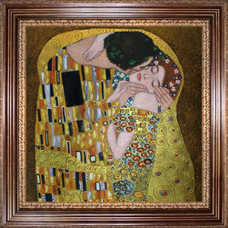 """overstockArt.com - Klimt - The Kiss (Luxury Line) Oil Painting - 24"""" x 24"""" Oil Painting On Canvas This painting is part of our """"Luxury Line"""". It is made of the same hand painted oils on canvas, with the addition of beautifully hand embellished gold and silver accents. Exclusive only to our highest quality reproductions. Hand painted oil reproduction of a famous Klimt painting, The Kiss. The original masterpiece was created in 1907-08. Today it has been carefully recreated detail-by-detail, color-by-color to near perfection. Gustav Klimt, the Vienna master painted the Kiss oil painting in 1907. The painting depicts a couple surrounded by a gold blanket and ornaments sharing a moment of sheer passion - the perfect kiss. In the oil and gold masterpiece, the man appears standing as he holds in his arms the kneeling woman. The two seem to be positioned on a flower field, kissing, totally engaged with one another. The woman seems to be following the lead of her partner, but is not taking an active part. The patterns of the man are mostly black and white rectangles, while the woman is engulfed in flowers. The identity of the people depicted in this oil painting is not exactly clear; some suggest that it is Klimt himself and his beloved partner, Emilie Floge. However, that is sheer speculation as Klimt made it a point never to paint himself. Gustav Klimt (1862-1918) was one of the most innovative and controversial artists of the early twentieth century. Influenced by European avant-garde movements represented in the annual Secession exhibitions, Klimt's mature style combines richly decorative surface patterning with complex symbolism and allegory, often with overtly erotic content. This work of art has the same emotions and beauty as the original. Why not grace your home with this reproduced masterpiece? It is sure to bring many admirers!"""