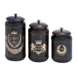 "Benzara - Canisters with Cylindrical Jars and Matching Lids - Set of 3 - Canisters with Cylindrical Jars and Matching Lids - Set of 3. Upgrade the visual appeal of your decor with this Set of stylish and elaborately designed metal canister. It comes with a following dimension 5""W x 5""D x 11""H. 5""W x 5""D x 10""H. 5""W x 5""D x 8""H."