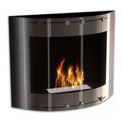 DecoFlame - Arch Modern Wall Mounted Ethanol Fireplace, Stainless Steel - Arch provides a sophisticated and streamlined aesthetic to any space using its curved frame offered in stainless steel and black or red high-gloss enamel. This fireplace offers an eco-friendly flame that is odorless. Bio Ethanol, an alternative fuel source produced from plants, only emits water vapor and carbon dioxide into the air, therefore no chimney or flue is needed. Although ethanol fireplaces aren't intended for use as a primary heat source, the Arch model produces approximately 9,800 btu with the help of its stainless burner, which will change the noticeable temperature in a room of approximately 450 square feet. For aesthetic appeal and safety, this fireplace includes two tempered glass sliding doors that are situated in front of the flame. Appropriate for any modern or contemporary living space, Arch can be mounted on the wall using the included hardware.