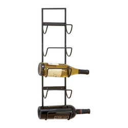 Woodland Imports - Woodland Imports Carmalina Metal Wall 5 Bottle Wine Cradle Rack Multicolor - 633 - Shop for Wine Bottle Holders and Racks from Hayneedle.com! Designed to showcase your finest wines the Woodland Imports Carmalina Metal Wall 5 Bottle Wine Cradle Rack offers a minimal display that won't overwhelm. Crafted of ultra-sturdy iron alloy that's finished in weathered black this wall-mounted wine rack combines contemporary lines with rustic charm.