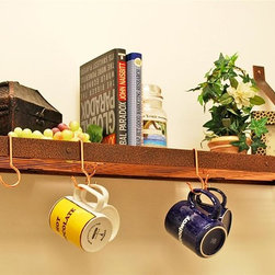 Rogar - Bookshelf Pot Rack in Hammered Copper w Hooks - Perfect where there is no space for a hanging rack. Pans, etc can be hung from grid and cookbooks/decorative items store on top of grid. Includes 6 Eye and 2 Grid Hooks. Hammered Copper w Copper accessories. 35 in. L x 8.5 in. W x 13 in. H (8 lbs.)