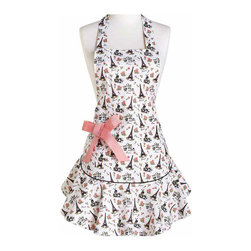 Jessie Steele - Jessie Steele Apron Parisian Toile Bib Josephine - Jessie Steele's elegant Eiffel tower toile apron. Features a fine lightweight cotton. It is dressed up with a removable grosgrain bow on the pocket. Entertain your company while looking fabulous.