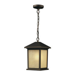 Z-Lite - Z-Lite 507CHB Craftsman / Mission 1 Light Down Lighting Pendant with Glass Squar - Z-Lite 507CHB 1 Light Down Lighting Pendant with Glass Square Shade from the Holbrook CollectionThe timeless, mission styling of the Holbrook family displays clean lines to suit both contemporary and traditional decors. The glass panels are available in seedy white paired with a black finished fixture and warm tinted seedy paired with an olde rubbed bronze finished fixture. Also available are glass panels in white swirl paired with black or beige swirl paired with olde rubbed bronze. Alternatively, designed tiffany panels are available in either beige swirl accented with amber or white swirl accented with black. These fixtures are comprise of cast aluminum which withstands nature's seasonal elements.Features: