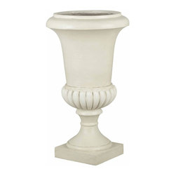 Kenroy Home - Tall Urn Garden Planter - Roman White Finish. 31 in. H x 17 in. DiameterReminiscent of marble and aged plaster, this classical urn planter leans to the traditional but has universal appeal.  Indoors or out, this decorative ornament is sure to be a welcome addition to any decor.