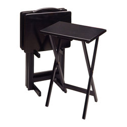 Winsome - 5pc TV Table Set - With smooth, broad tops, these solid wood TV Tables can easily hold a large meal, and the upright stand stores them discretely when not in use.