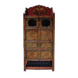 Golden Lotus - Tibetan Altar Temple Offer Display Storage Cabinet - This is a Tibetan style cabinet with the traditional Buddha temple altar top design and accessories storage compartments - drawers and shelves. The surface is hand painted Tibetan lucky prayer symbols with grinded powder mineral pigment - which creates a colorful long-last finish. It is a charm decorative piece for the modern home as an accent or for personal Buddha display piece.