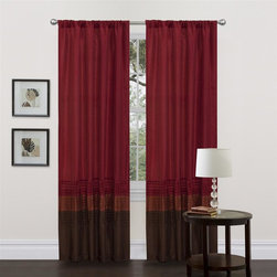 Lush Decor - Mia Brown Red Window Curtain - Set of 2 - Includes: 2 Window Panels. Fabric Content:100% Polyester. Color: Brown/Red. Care Instruction: Dry clean. 54 in. x 84 in. Transform and brighten your room with this colorful faux silk window panel. The 3 colors blocks transition into each other with a series of 4 pleats giving the panel a clean and very finished look. There is a rod pocket for quick and easy installation.