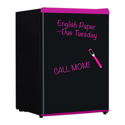 Keystone - 2.4 Cu. Ft. Refrigerator With Wipe Off Board Front, Marker - Pink Trim - The Keystone KSTRC24CBP Energy Star 2.4 Cu. Ft. Compact Refrigerator has a wipe-off board front and includes a coordinating dry-erase marker. Perfect for college dorm rooms, use the dry-erase marker to decorate or leave notes on the door front. The dry-erase marker wipes clean with a dry or damp cloth. Inside it has a chiller compartment (lowest temperature is 32 degrees F), 2 wire shelves and bottle/can storage in the door. Plus, the flush-back design, reversible door and adjustable legs will make sure it fits just where you need it.Energy Star 2.4 cu. Ft. Compact refrigerator with wipe-off board front