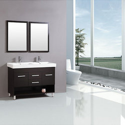 Kokols - Kokols Modern 48-inch Double Sink Vanity - Complete your bathroom remodel with this Kokols Modern 48-inch double sink vanity. The vanity is complete with two faucets and a mirrored cabinet with four roomy drawers.