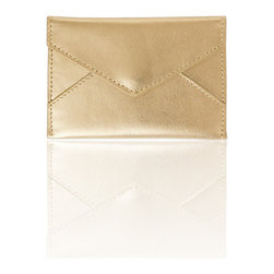 Russell + Hazel - Business Card Holder, Gold by Russell + Hazel - Ideal for business cards and credit cards, this stylish and functional mini leather envelope comes complete with a complimentary cotton twill lining. Snap enclosure keeps your belongings safe.