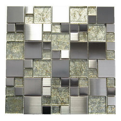 Tilesbay.com - 10 Pcs of 12x12 Golden Blend Oddysey Magic Pattern Mosaic Stainless Steel Tile - Oddysey Magic Pattern Mosaic 12x12 Golden Blend.