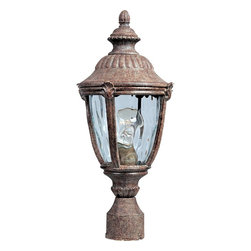 Maxim Lighting - Maxim Lighting Morrow Bay DC Traditional Outdoor Post Lantern Light X-TEGW0813 - This classically styled Maxim Lighting outdoor post lantern light features a beautiful roof with scallop detailing and traditional finial. From the Morrow Bay Collection, this traditional outdoor lighting fixture also features curved columns complete with leafy accents. The entire frame has been finished in an Earth Tone hue and features a water glass shade for added nature inspired flair.
