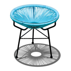 Acapulco Patio Side Table and Ottoman, Glacier Blue