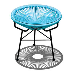 Harmonia Living - Acapulco Patio Side Table and Ottoman, Glacier Blue - If funk is your middle name then this side table/ottoman will be just what your patio or deck craves. Serve drinks, appetizers and small plates and when you're finished, move the glass and add the pillow for a retro footstool.