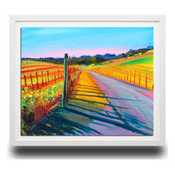 "Ann Rea - Bring home Alexander Valley with ""Silvering Vines"" , White Frame, Small - ""The most color saturated afternoon light eventually gives way to the silver moon forcing me to focus and paint Silver Oak Cellars Alexander Valley vineyard quickly."" -Ann Rea"