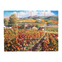Tile Art Gallery - Splash Decor Tile Mural - Sam Park - Red Vineyard of Napa - You'll feel like you're looking out at the vineyards when you install the beautiful, realistic tile mural in a tiled opening as your kitchen backsplash. The pull and lift motion allows you to move it and redecorate.