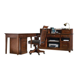 Hooker Furniture - Hooker Furniture Wendover Computer Credenza 5 Piece Set in Cherry - Hooker Furniture - Computer Desks - 1037113645PCKIT - Features: