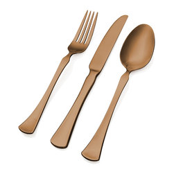 Hampton Forge - Hampton Forge Refined Copper Titanium 20-piece Flatware Set - The Hampton Forge Refined 20-piece flatware set features a sturdy stainless steel construction with a lustrous finish of copper titanium plating. Perfect for casual or fine dining,this silverware features a full service for four.