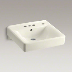 """KOHLER - KOHLER Soho(R) 20"""" x 18"""" wall-mount/concealed arm carrier arm bathroom sink with - When your lavatory needs to handle high-volume traffic, premium KOHLER materials are more important than ever. Crafted of  vitreous china, your Soho wall-mount lavatory will provide a lifetime of beauty thanks to our exclusive KOHLER glaze. This remarkably hard, glossy finish protects the surface for a clean, sanitary sink that maintains its polished shine through years of busy use. This model also features drillings for a concealed arm carrier, a right-hand soap dispenser and a faucet with 4"""" centers."""