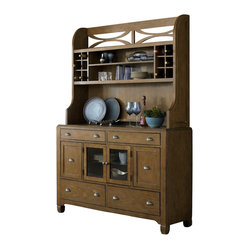 Liberty Furniture Town & Country Buffet w/ Hutch in Sand, Light Wood