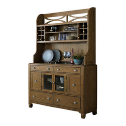 Liberty Furniture - Liberty Furniture Town & Country Buffet w/ Hutch in Sand, Light Wood - From the mountains to the coast, inside the city, or out in the country, Town & Country features a transitional styling that can work for any taste. Simply styled cases are accented with a step top design to soften the straight lines. Shaped block feet raise the cases for an airy appeal. Arched trestle base features the easy glide mechanism for smooth opening. Planked accent tops keep the casual appeal. Wood framed upholstered chairs in a linen feature nail head trim. What's included: Buffet (1), Hutch (1).