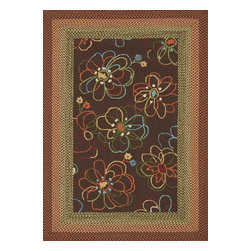 "Loloi Rugs - Loloi Rugs Zamora Collection - Brown, 5'-0"" x 7'-6"" - The Zamora Collection, made in China of 100% polypropylene, combines a hand-hooked field with a hand-braided border, for an overall look that exceeds expectations in an indoor/outdoor product. Cheerful and vibrantly colored, this collection breathesliveliness into an outdoor space."