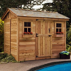 Outdoor Living Today CD96 Cabana 9 x 6 ft. Garden Shed - The Outdoor Living Today CD96 Cabana 9 x 6 ft. Garden Shed is great for storing tools and outdoor supplies but it also makes a great changing room for your backyard pool. Made with attractive sturdy Western red cedar this shed boasts a rustic cedar shake roof and cedar-planked double doors that open up 62 inches wide for easy access and usability. Other features include a 31-inch Dutch door as well as two windows with working screens each with flower boxes for a pleasant natural touch. Assembly is a weekend project for one or two people. One-year limited warranty included.DimensionsExterior: 8.8W x 6.4D x 8.4H feetInterior: 8.3W x 5.9D x 8.2H feetDoor 2.6W x 6H feet About Cedar WoodCedar wood is lightweight and resistant to both cracking and moisture rot. The oils of this resilient wood guard against insect attack and decay and their distinctive aroma acts as a mild insect repellant. Cedar is a dependable choice for outdoor furniture either as a finished or unfinished wood. Over time unfinished cedar left outdoors will weather to a silvery gray patina. This natural process does not compromise the strength or integrity of the wood.Another great aspect of cedar is its environmental effect - which is minimal. A renewable resource cedar wood emits low greenhouse gases. So rest assured knowing that your beautiful cedar furniture is a green choice too!About Outdoor Living TodayOutdoor Living Today has a simple goal. That goal is to provide the best wood products to the marketplace at the best value. Established in 1974 Outdoor Living Today has a well-earned reputation for making products that are functional durable attractive and affordable. Products are designed so that the average person with limited building skills can assemble them. Gazebos sheds playhouses and pergolas are all uniquely designed and constructed from beautiful Western red cedar.