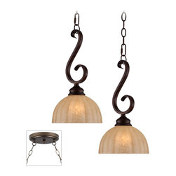 """Lamps Plus - Traditional Ferro Scroll Bronze Double Multi Light Pendant - Our multi swag chandeliers let you add designer lighting to any room. The special swag canopy installs into any ceiling junction box just like a normal ceiling light or chandelier. Install hooks in the ceiling and swag the chain to the canopy; adjust the hanging length as desired. With the hanging options you can get the exact look and light placement you need. This version features a bronze finish double swag canopy. It's paired with two designer Ferro pendants in golden bronze finish with iron scrolls. Multi swag chandelier. With two designer Ferro pendants. Includes bronze finish special canopy adaptor. Installs into any ceiling junction box. Includes swag hooks and mounting hardware. Each pendant includes 10 feet cord 6 feet chain. Takes two maximum 60 watt bulbs (not included). Canopy is 7"""" wide. Each pendant is 15 1/2"""" high 8"""" wide. Some assembly required; instructions included.  Multi swag chandelier.  With two designer  Ferro pendants.  Includes bronze finish special canopy adaptor.  Installs into any ceiling junction box.  Includes swag hooks and mounting hardware.  Each pendant includes 10 feet cord 6 feet chain.  Designer style large chandelier.  Takes two maximum 60 watt bulbs (not included).  Canopy is 7"""" wide.  Each pendant is 15 1/2"""" high 8"""" wide.  Some assembly required; instructions included."""