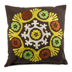 "de-cor - Psychedelic Canvas Suzani, Brown / Yellow - The psychedelic Suzani Pillow is a beautiful addition to any living space. Suzani in Persian means ""needle work"" and the cotton based square Suzani features intricate embroidery with silk threading."
