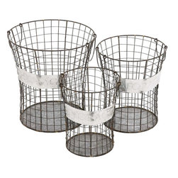 """Benzara - The Handy Set of 3 Metal Wire Basket - Have you been searching for a set of baskets you can use for various tasks? Well, the set of 3 metal wire baskets is one such set that will come in handy while doing many things. Depending on the size you could use each for a different purpose. The smaller one can be used as a trash bin after lining it with, say, a plastic bag. The large one can be used to collect dirty laundry. Their uses can be myriad.Additionally, their simply built makes them very attractive. Plus, they have been made from quality materials; this ensures that they won't be affected by the elements. Indeed the set of metal wire basket is a product that every house wife would love to have. So consider getting them today. Metal wire basket dimensions: 15 inches (W) x 15 inches (D) x 16 inches (H); 12 inches (W) x 12 inches (D) x 14 inches (H); 10 inches (W) x 10 inches (D) x 12 inches (H); Drawers color: Gray, White and Black; Made from: Metal; Dimensions: 19""""L x 8""""W x 19""""H"""
