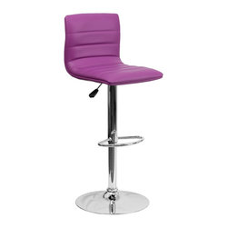 Flash Furniture - Flash Furniture Barstools Residential Barstools X-GG-RUP-1-32029-HC - This modern bar stool is upholstered in a durable vinyl upholstery and adjusts from counter to bar height. This armless design is gracefully contoured for your comfort. The height adjustable swivel seat adjusts from counter to bar height with the handle located below the seat. The chrome footrest supports your feet while also providing a contemporary chic design. [CH-92023-1-PUR-GG]